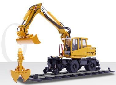 Atlas 1604 wheeled excavator with clam shell, ditching bucket and rail mounted wheels