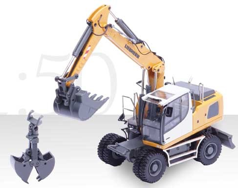 Lieberr A920 wheel excavator with clam bucket