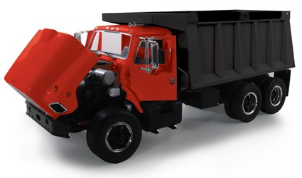 International S-Series dump truck-Red cab/black box