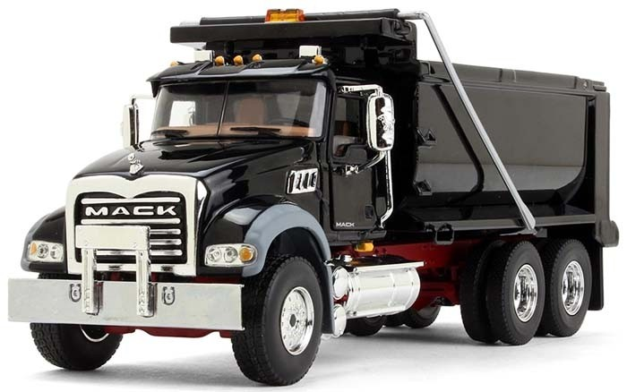 Mack Granite Dump Truck-Black with Red Chassis