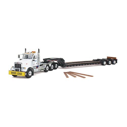 """Peterbuilt Model 367 with Triaxle lowboy-White cab with """"Komatsu"""" on the door/Black trailer"""