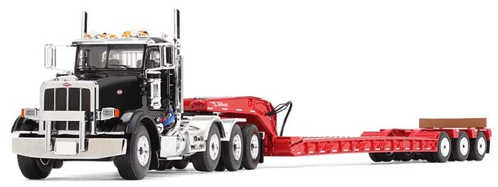 "PETERBILT MODEL 367 WITH TRI-AXLE LOWBOY TRAILER-BLACK CAB WITH ""KOMATSU"" ON THE DOORS, RED TRAILER"