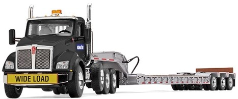 Kenworth T880 with Tri-Axle Lowboy Trailer With Komatsu