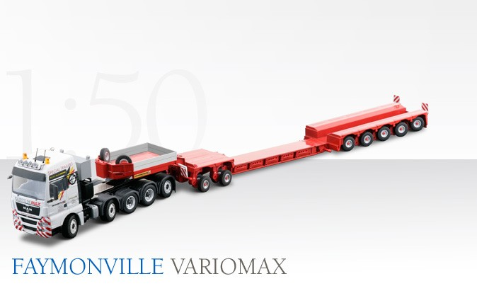 MAN TGX 5 axle tractor with Faymonville drop center trailer
