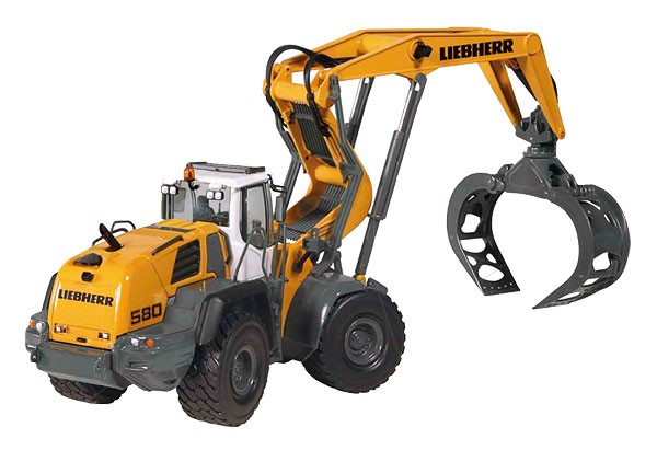 Liebherr L 580 wheel loader with log grapple