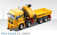 Palfinger PK 10002 self loading crane on M.A.N. TGS 4 axle truck 'WIESBAUER'