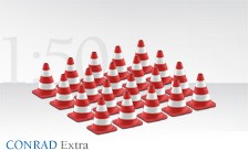 Red and white traffic cones