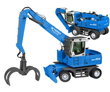 Terex-Fuchs MHL on wheels with grab