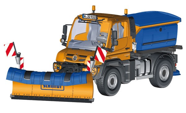Mercedes Unimog U 400 with snow plow and grit spreader