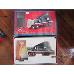 ERF 8-wheel flatbed truck with generator load and with a Corgi clock