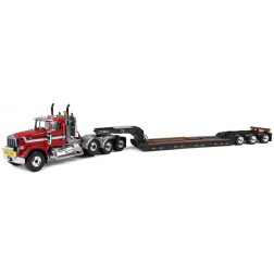 Peterbilt Model 367 with Tri-Axle Lowboy Trailer-Red/Black