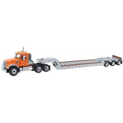 D.O.T orange Mack Granite tractor with silver lowboy trailer