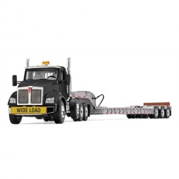 KENWORTH T880 WITH TRI-AXLE LOWBOY-BLACK CAB/SILVER TRAILER