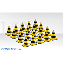 Black and yellow traffic cones