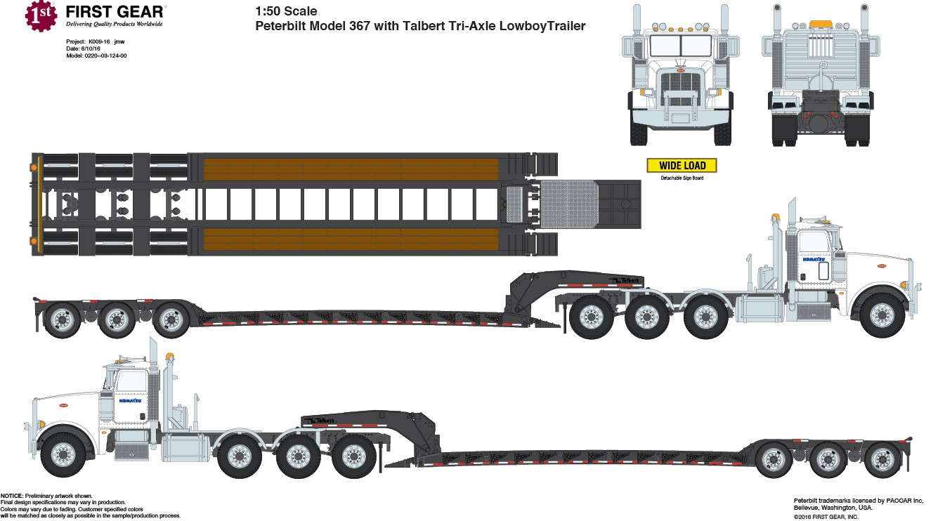 Scratch Built Tri Axle Semi Tractor Truck : Peterbuilt model with triaxle lowboy white cab