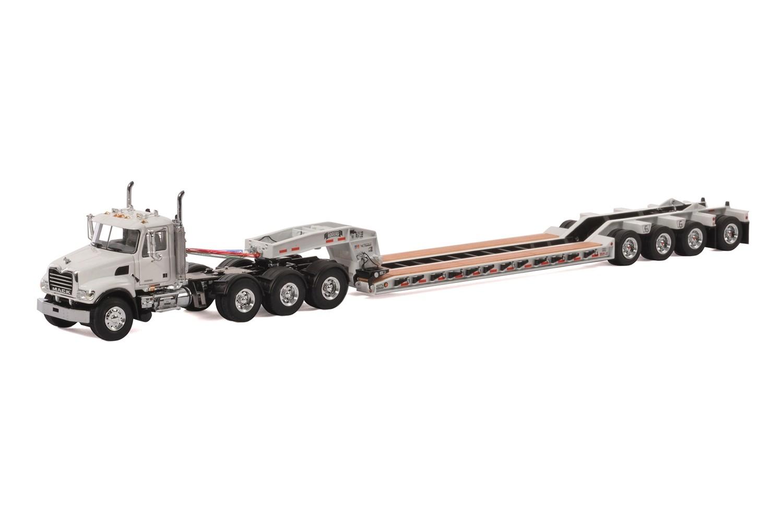 Mack Granite 8x4 w/4-Axle Flip Rogers Lowboy - White