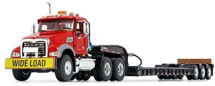 Mack Granite® MP and Talbert® Tri-Axle Lowboy-Red/Black