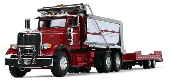 Peterbilt Model 367 Dump Truck with Beavertail Trailer-Red/Chrome/Red