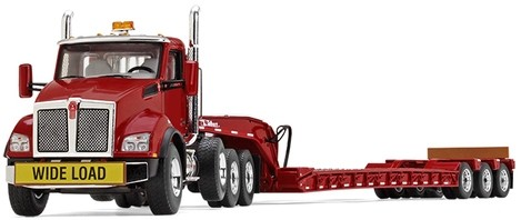 Kenworth T880 with Tri-Axle Lowboy Trailer Red tractor Red trailer