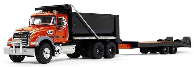 Mack Granite Dump Truck with Beavertail Trailer-Orange/Black