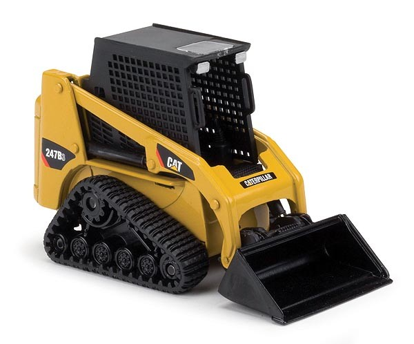 Caterpillar 247B track skid loader with pallet forks, grapple bucket and bucket