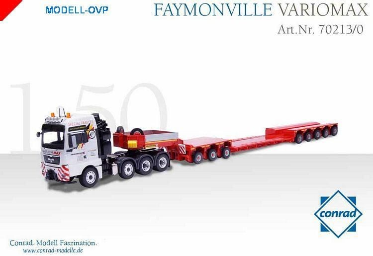 MAN TGA 4 axle tractor with FAYMONVILLE VARIOMAX  4 axle trailer with 3 axle dolly