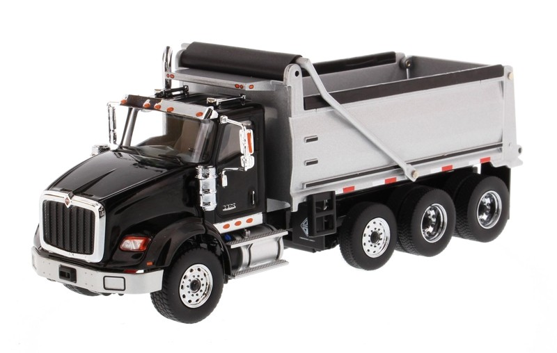 International HX620 Dump Truck in Black with Silver Grey Bed