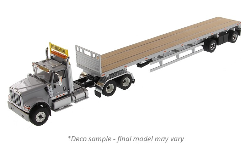 International HX520 Tandem Day Cab in Light Grey with 53' Flatbed Trailer in Silver