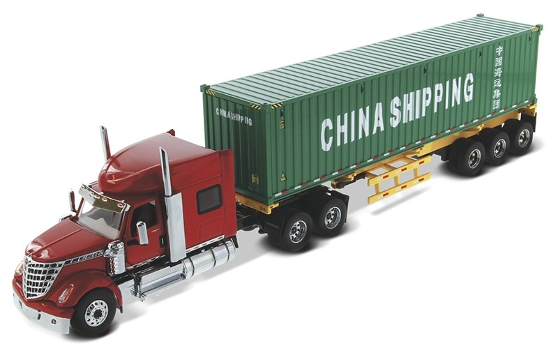 """International Lonestar with Sleeper in red and skeletal trailer with 40"""" Chine Shipping container"""