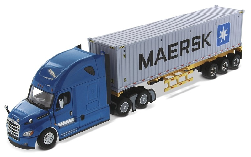 Freightliner New Cascadia with Sleeper in Blue and Skeletal Trailer with MAERSK 40' Shipping Container