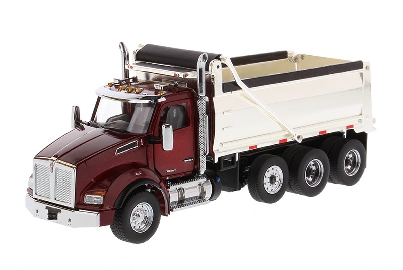 Kenworth T880 SBFA Dump Truck in Radiant Red with Chrome Plated Dump Bed