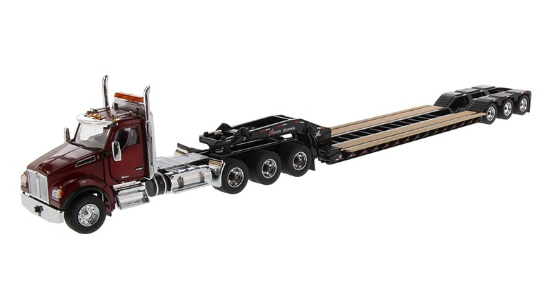 Kenworth T880 SFFA Day Cab Tridem Tractor in Radiant Red with XL 120 Lowboy HDG Trailer - Outrigger Style - with 2 Boosters and Jeep