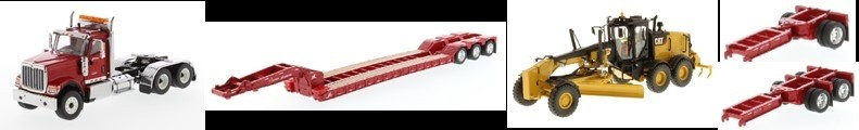 International HX520 Tandem Day Cab Tractor with XL 120 Lowboy Trailer in Red and Cat 12M3 Motor Grader-PREORDER