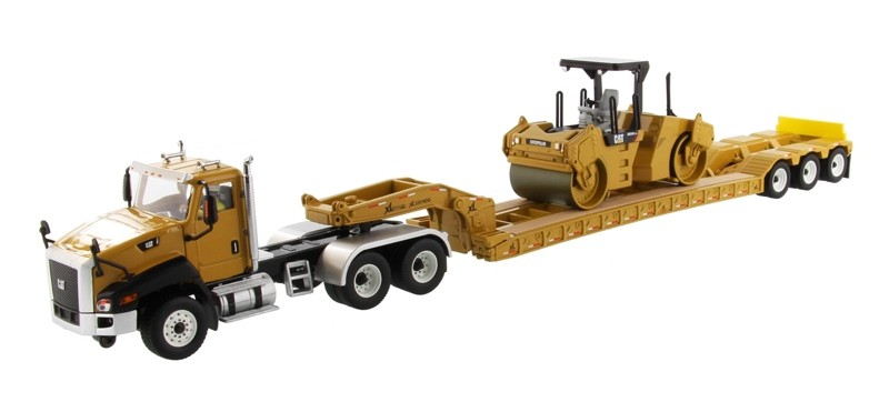 Caterpillar CT660 Day Cab with XL 120 Low-Profile HDG Lowboy Trailer and Cat CB-534D XW Vibratory Asphalt Compactor