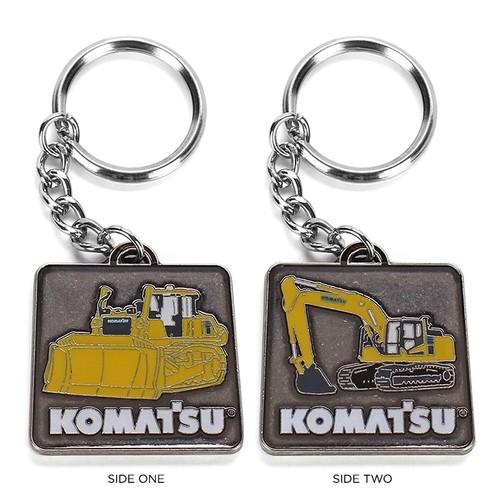 KOMATSU Dozer and Excavator Two-Sided Keychain