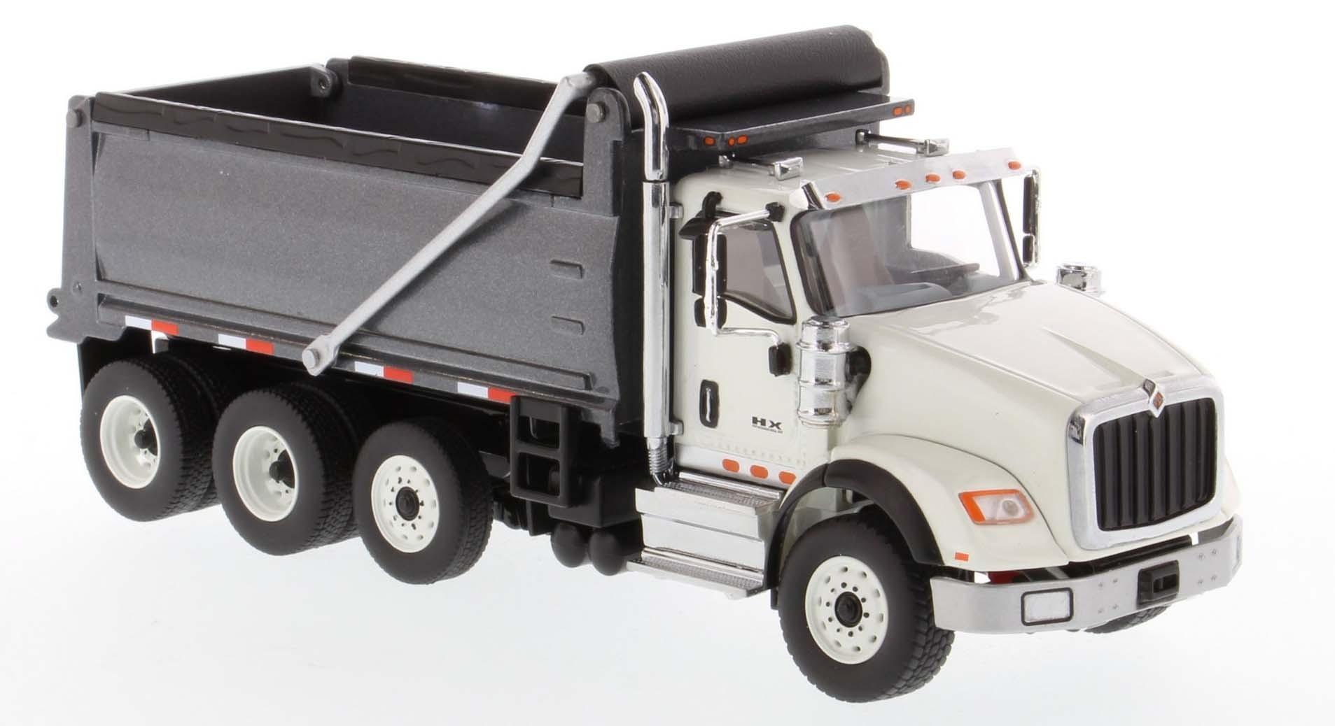 International HX620 Dump Truck in White with Gun Metal Grey Bed