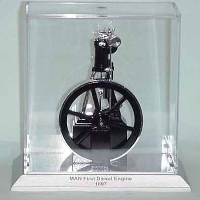 Model of Rudolph Diesel's first engine in display case