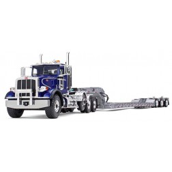 Peterbilt Model 367 with Tri-Axle Lowboy Trailer-BLUE CAB AND SILVER TRAILER