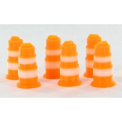 Traffic Barrels - 6 pack orange and white - ABS plastic - Made in the USA