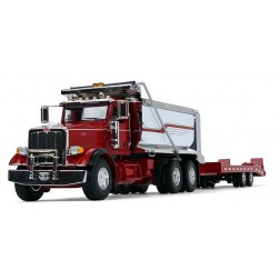 Peterbilt Model 367 Dump Truck with Beavertail Trailer-Red/Chrome/Red