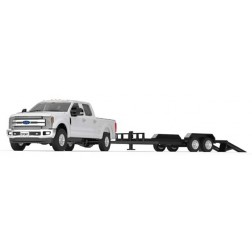 FORD F-250 SUPER DUTY PICKUPOXFORD WHITE WITH BLACK TANDEM-AXLE TRAILER
