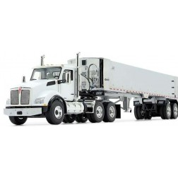 Kenworth T880 with East Genesis End Dump Trailer-White/Chrome-PREORDER