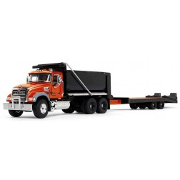 Mack Granite Dump Truck with Beavertail Trailer-Orange/Black/Black