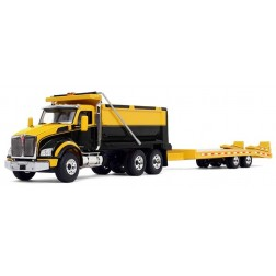 Kenworth T880 Dump Truck with Beavertail Trailer-Yellow/Black/Yellow