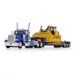 Peterbilt Model 379 Day Cab with Fontaine Renegade Extendable Lowboy with Flip Tail and Komatsu D155AX-8 SIGMADOZER with Ripper