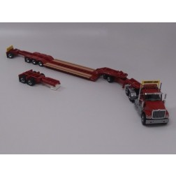 International HX520 tandem tractor with XL lowboy, jeep, 2 boosters and chrome wheels - red