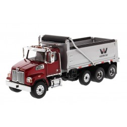 Western Star 4700 SF Dump Truck in Red with Silver Dump Body