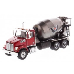Western Star 4700 SF Concrete Mixer Truck in Red with Gun Metal Grey Drum