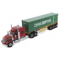 "International Lonestar with Sleeper in red and skeletal trailer with 40"" Chine Shipping container"