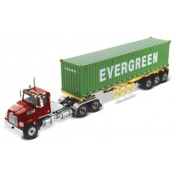 Western Star 4700 Day Cab in Metallic Red with Yellow Skeletal Trailer and 40' EverGreen Shipping Container